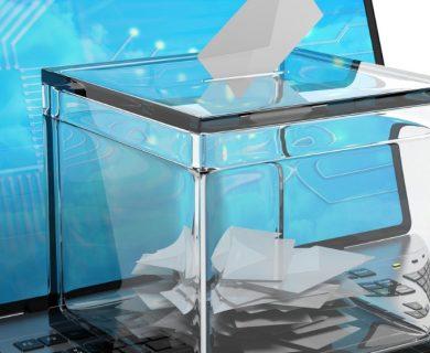 ballot box on laptop